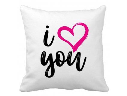 Polštářek pro zamilované páry I Love you černo růžový potisk