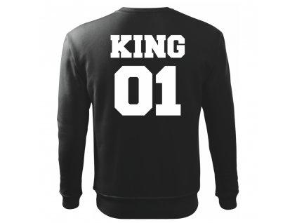 Pánská černá mikina bez kapuce KING 01 s bílým potiskem Výprodej