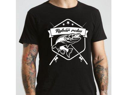 Tričko pánské pro rybáře s potiskem rybář roku černé