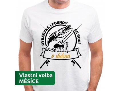 Tričko pánské pro rybáře s potiskem RYBÁŘSKÁ LEGENDA narozen v dubnu bílé
