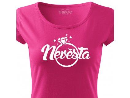 Dámské tričko na rozlučku se svobodou Nevěsta RING růžové s prstýnkem HL