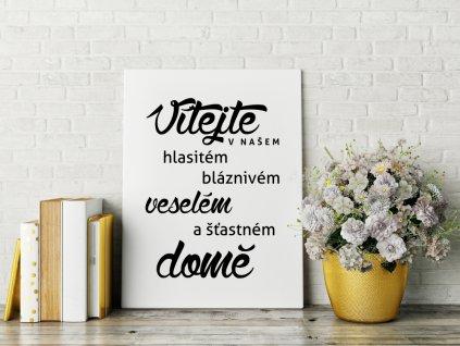 Dekorační obraz na plátně citát na zeď Vítejte v našem Domě