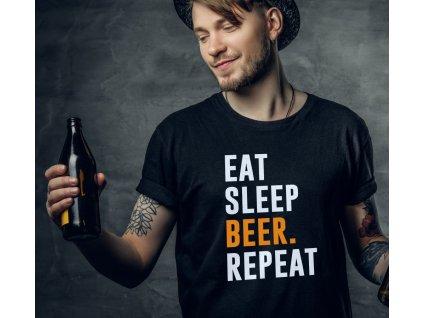 Pánské tričko pro pivaře s potiskem EAT SLEEP BEER REPEAT černé