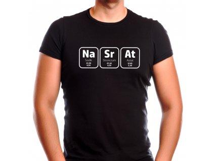 Pánské černé vtipné tričko chemik s potiskem NaSrAt tabulka prvků