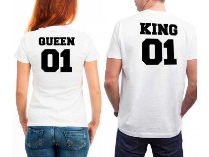 Bílé Trička pro Páry KING a QUEEN 03 s potiskem