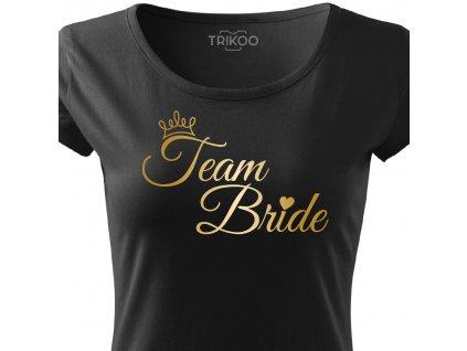 Dámské tričko na rozlučku se svobodou pro TÝM nevěsty TEAM BRIDE ELEGANT černé s korunkou zlatý potisk detail