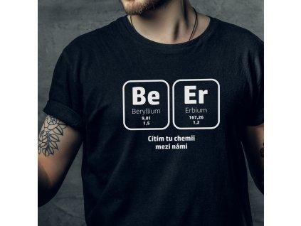 Pánské vtipné tričko do hospody Be Er pivní chemik černé