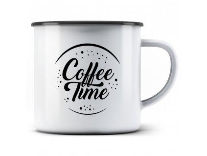 Plecháček smaltový hrnek Coffee Time