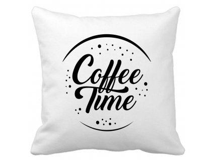 Dekorační designový polštářek s motivem Coffee Time pro milovníky kávy černý potisk