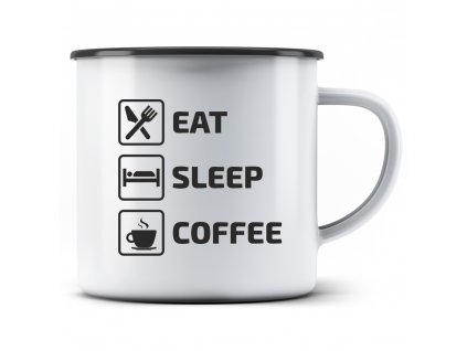 Plecháček s potiskem motivu kávy Eat Sleep Coffee