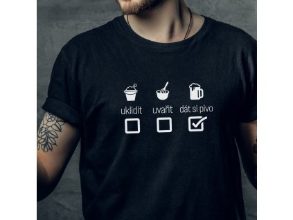 Pánské tričko pro pivaře s motivem domácí práce PIVO černé