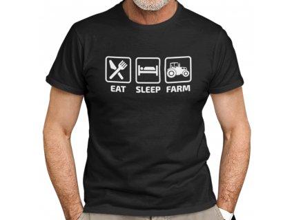 Pánské tričko pro Farmáře a Zemědělce Eat Sleep Farm s trakotrem černé