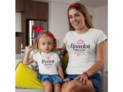 Set dámské a dětské tričko mamka princezny a dcera královny bílé