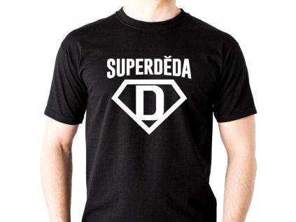 pánské tričko pro dědu s potiskem SUPER DĚDA černé bílý potisk