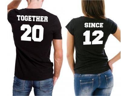 Trička pro páry Together Since spolu od roku bílý potisk