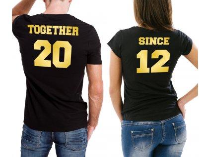 Trička pro páry Together Since spolu od roku zlatý potisk