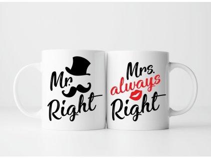 Sada Hrnečků pro páry Mr a Mrs Right Gentle bílé