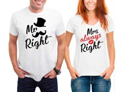 Trička pro páry Mr a Mrs Right Gentle bílé
