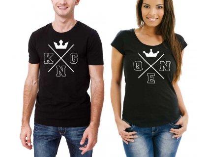 Černé Trička pro páry KING a QUEEN minimalism