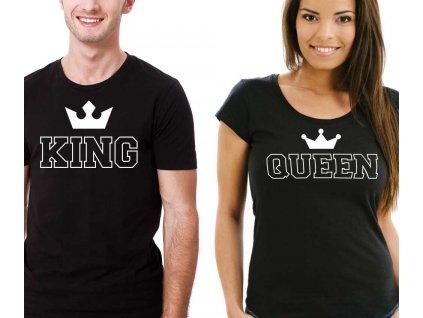 Trička pro páry King a Queen Outline Černé
