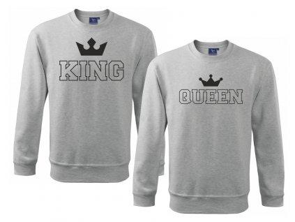 Sada mikin pro páry King a Queen Outline Šedá