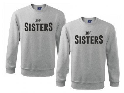 Mikiny pro kamarádky BFF SISTERS high šedé černý