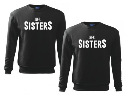Mikiny pro kamarádky BFF SISTERS high černé bílý