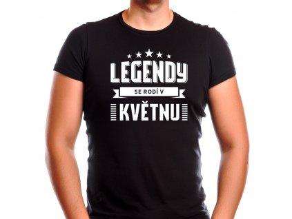 Pánské narozeninové tričko legendy se rodí v květnu černé