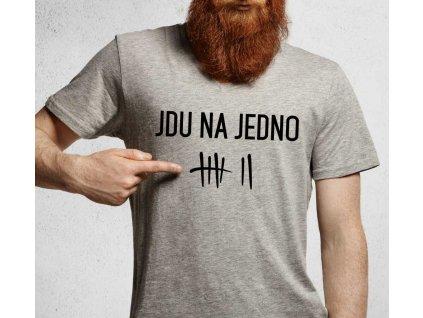 Pánské tričko s potiskem a nápisem JDU NA JEDNO pivo šedé
