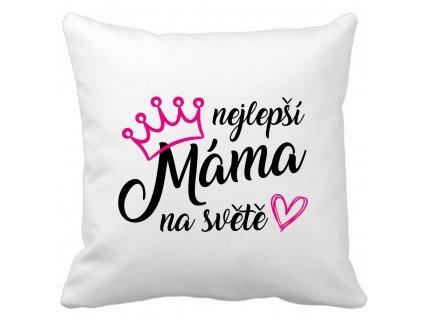 Polštářek bílý s potiskem nejlepší máma na světě černo růžový potisk