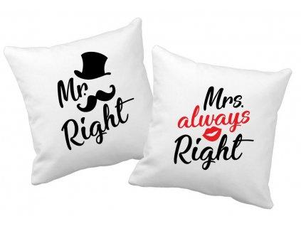Polštářky pro páry MR a MRS RIGHT Gentle