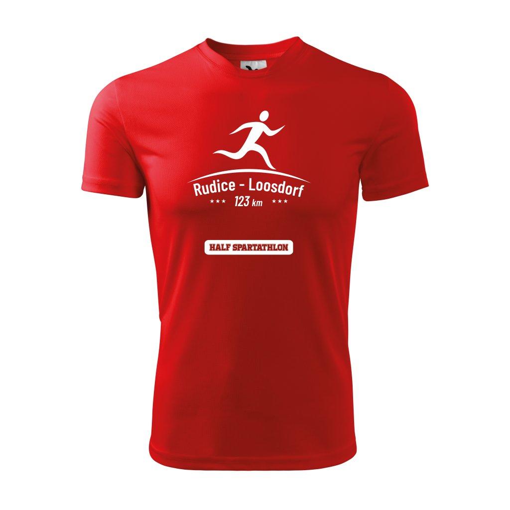 """Zakázkové funkční tričko pánské - červená, potisk """"Běh z Rudice do Loosdorfu"""" - bílý, velikost XL"""