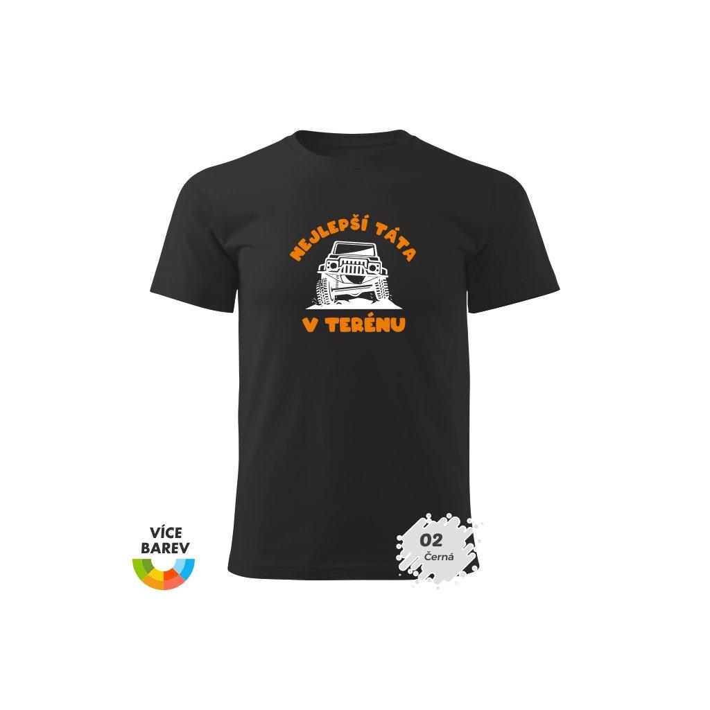 Pánské tričko - Nejlepší táta v terénu - s potiskem - dárkové - černá