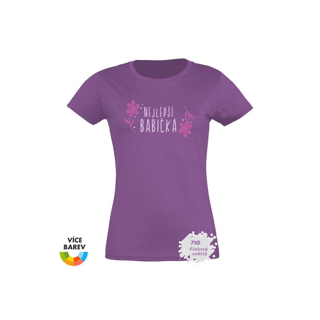 dámské tričko s potiskem Nejlepší babička - fialové - dárkové - Trikoto