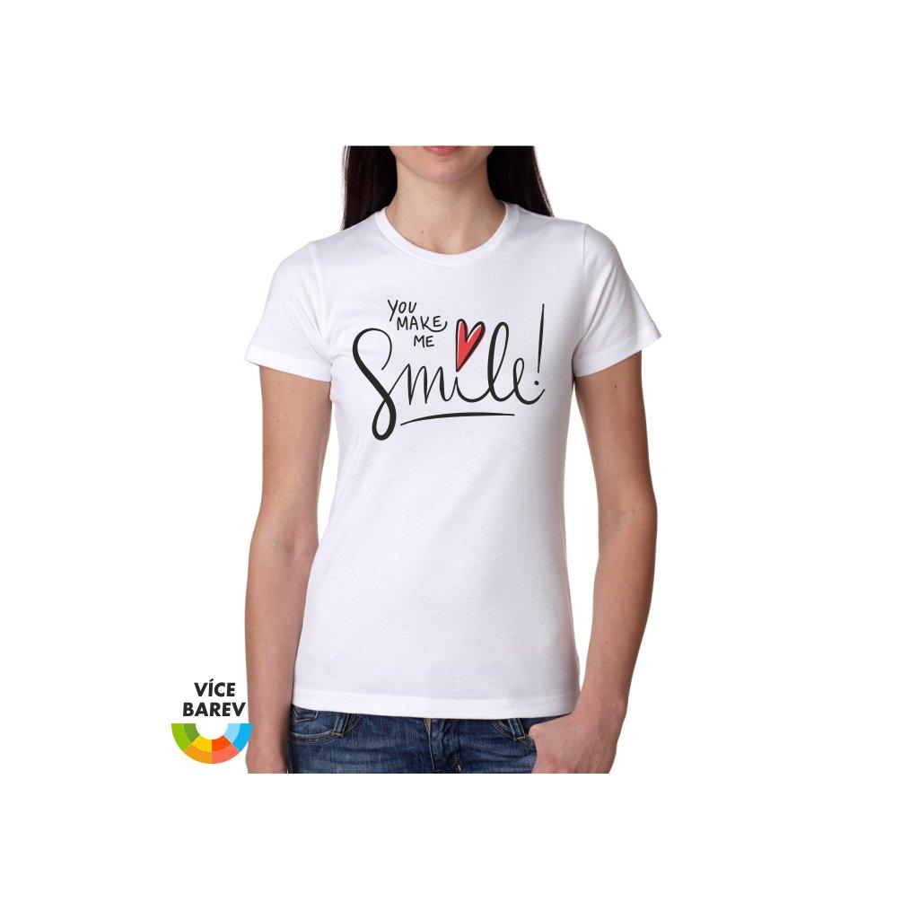 Dámské tričko s potiskem - Úsměv - bílá - dárkové - Trikoto