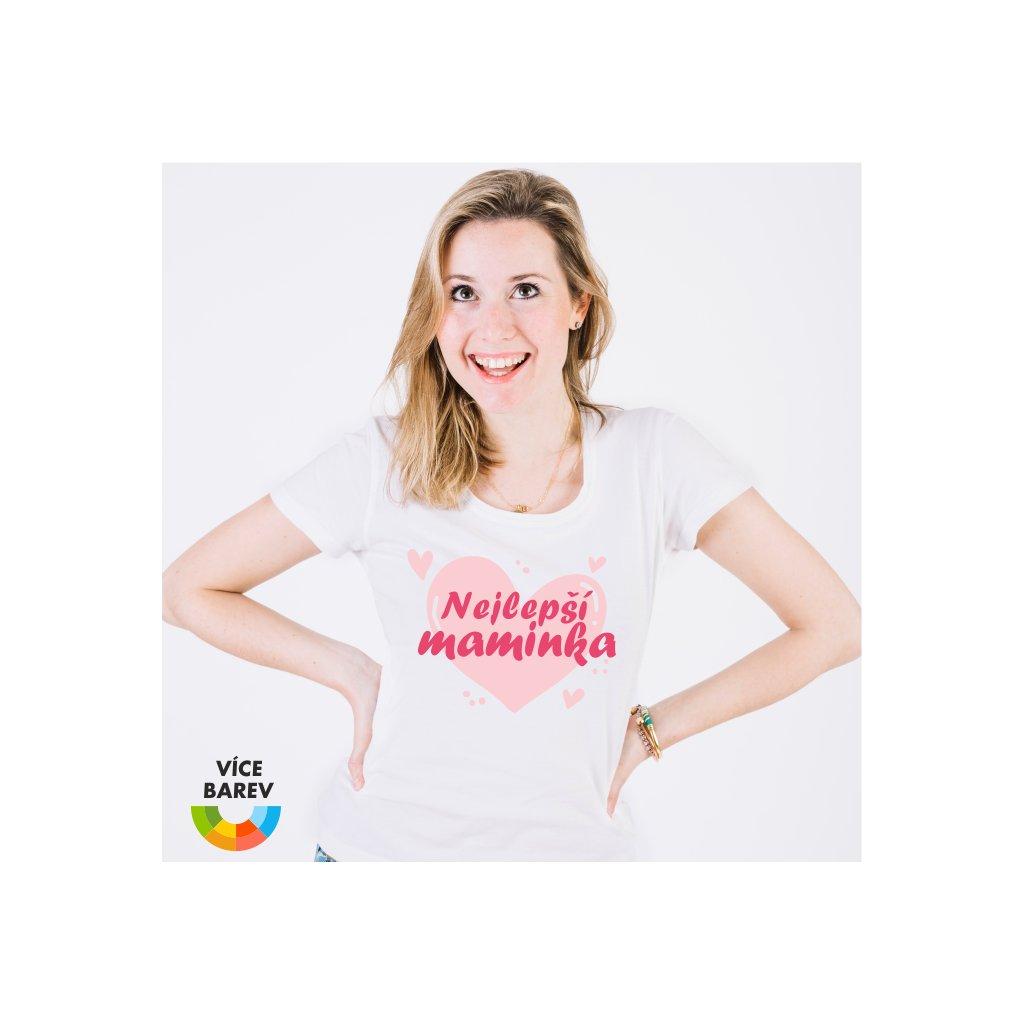 Dámské tričko s potiskem - Nejlepší maminka - srdce - bílá - dárkové - Trikoto