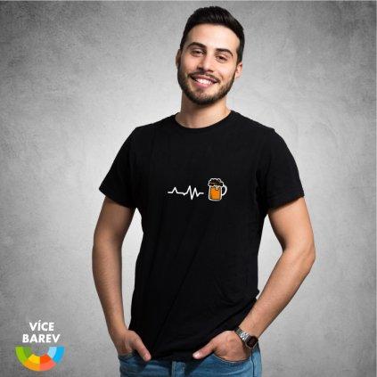 Pánské tričko - Pivní vibrace - s potiskem - dárkové - černá