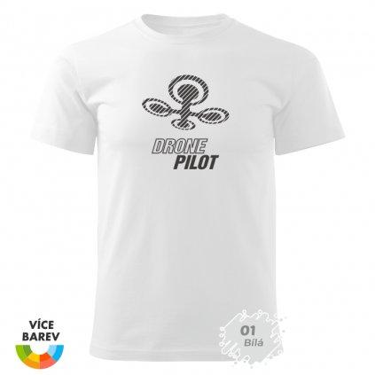 Pánské tričko - Pilot dronu - s potiskem - dárkové - bílá