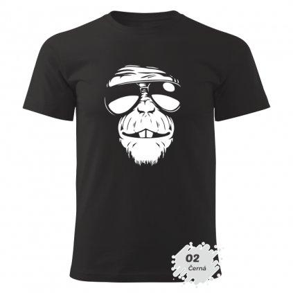 Pánské tričko s potiskem - Monkey - černé - bavlna - dárkové
