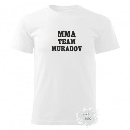 Zakázkové tričko pánské - MMA TEAM MURADOV - Barva: Bílá Potisk: Černý