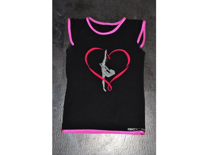 Tričko cerne srdce růžová