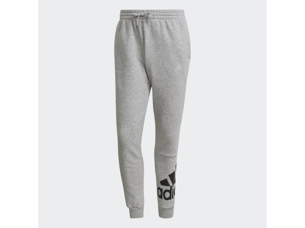 Essentials Fleece Tapered Cuff Logo Pants Grey GK8969 01 laydown