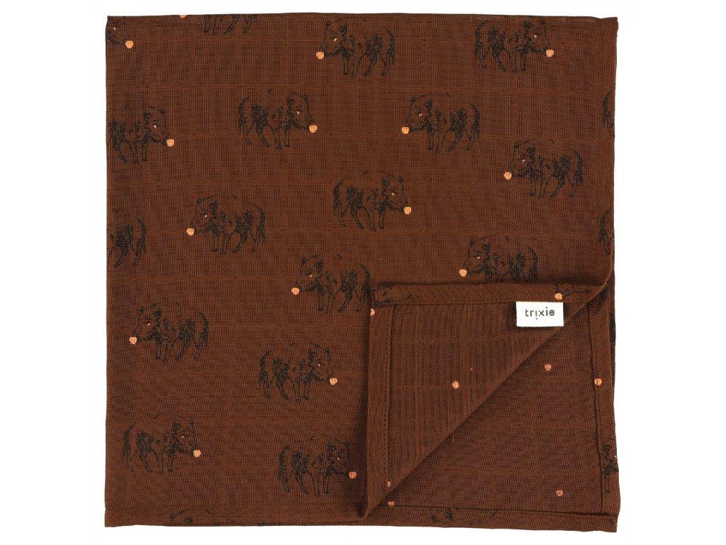 1635 bavlnena plenka muslin cloths truffle pig 55 cm set 3 ks