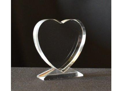 Plaketa sklo GI003 srdce + gravírovanie