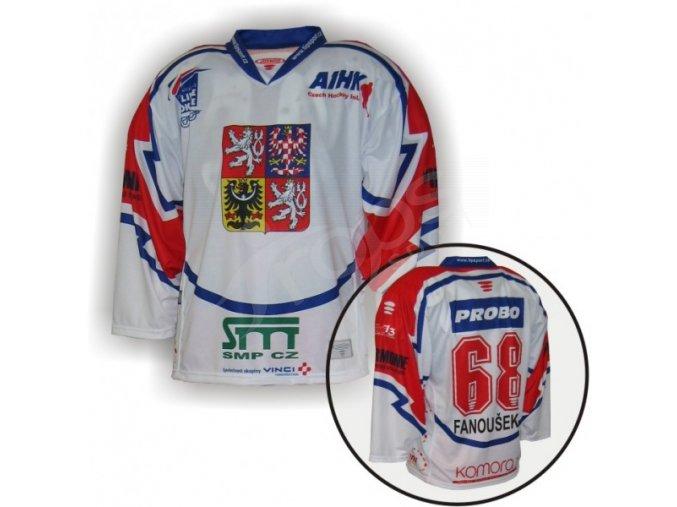 Hokejový dres in-line CZECH - VLASTNÍ JMÉNO a ČÍSLO - bílý