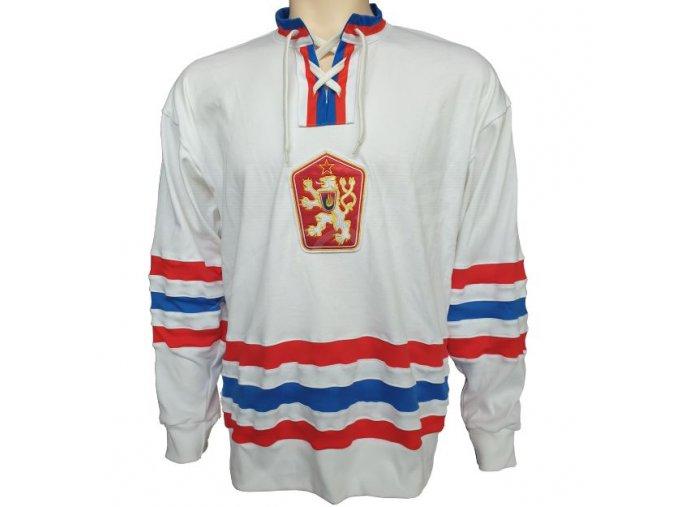 hokejovy dres retro cssr 76 pk bily