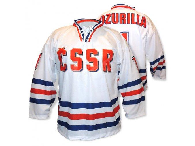 Hokejový RETRO dres ČSSR TOP s nápisem - bílý