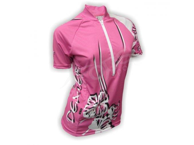 Cyklistický dres dámský FLOWERS - růžový