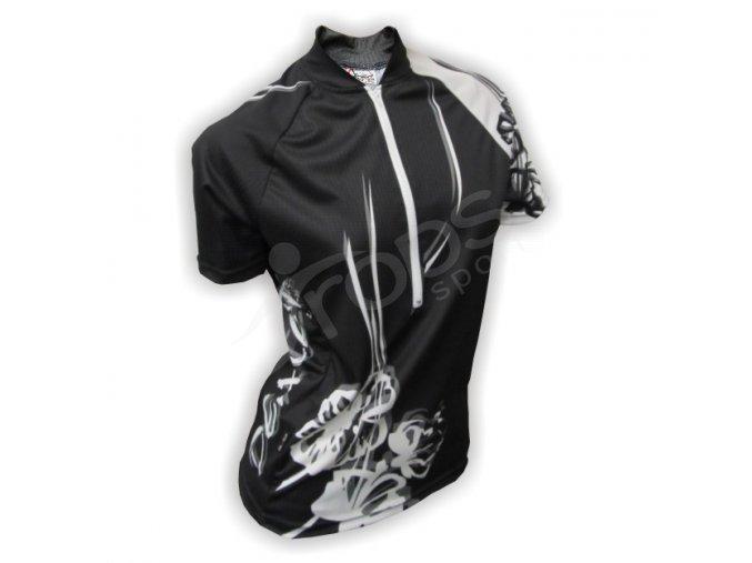 Cyklistický dres dámský FLOWERS - černý