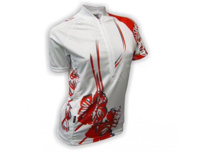 Cyklistický dres dámský FLOWERS - bílý
